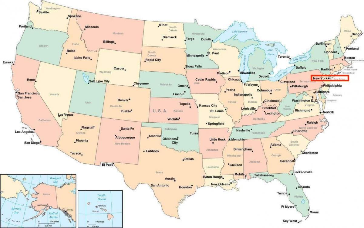 Karta Usa Chicago.New York Amerika Karta New York Pa Den Amerikanska Kartan New