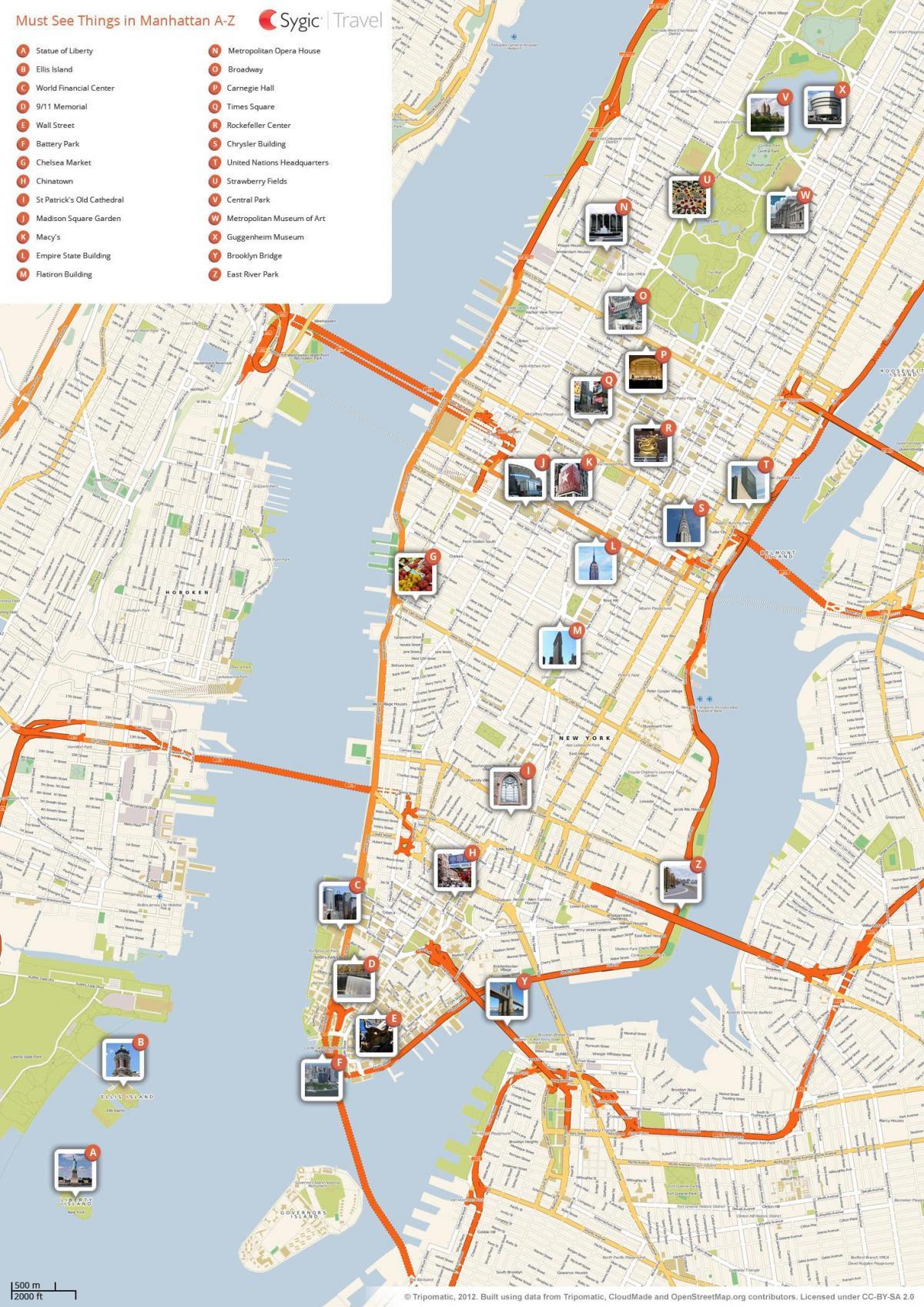 sevärdheter new york karta NYC turist karta   New York City sevärdheter karta (New York   USA) sevärdheter new york karta